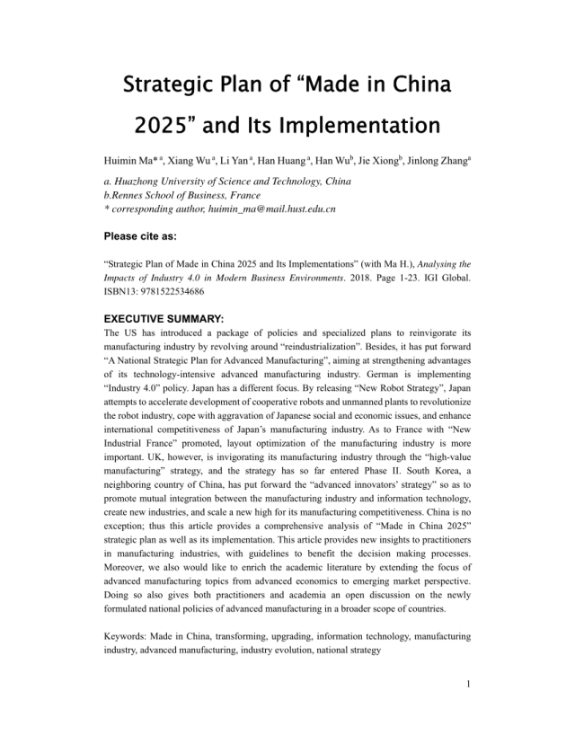 """PDF) Strategic Plan of """"Made in China 26"""" and Its Implementation"""