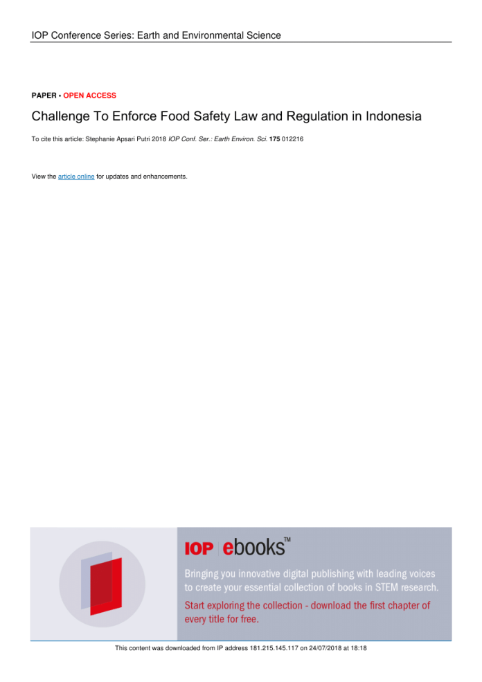 Pdf Challenge To Enforce Food Safety Law And Regulation In Indonesia