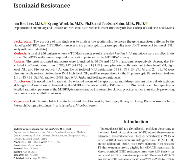 Pdf Resistance To Isoniazid And Ethionamide In Mycobacterium Tuberculosis Genes Mutations And Causalities