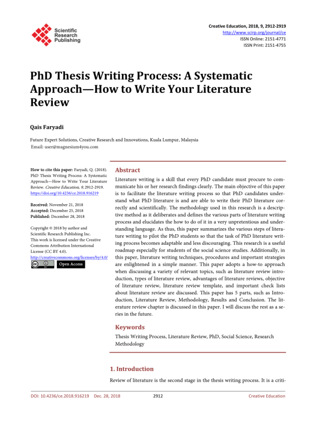 PDF) PhD Thesis Writing Process: A Systematic Approach—How to