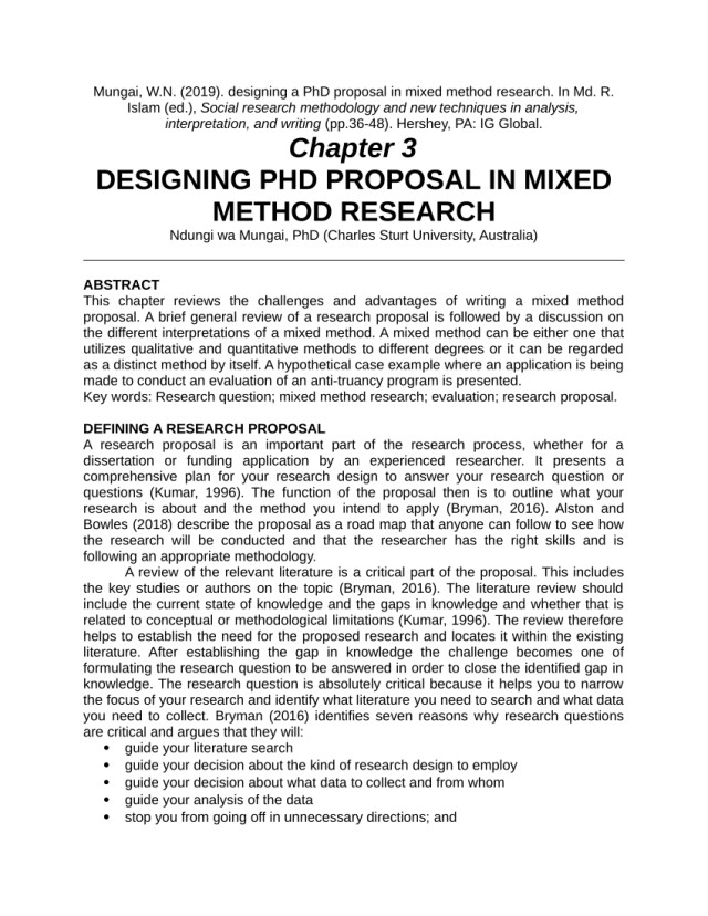 PDF) Designing a PhD Proposal in Mixed Method Research