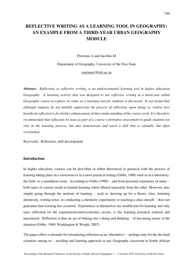 PDF) REFLECTIVE WRITING AS A LEARNING TOOL IN GEOGRAPHY: AN
