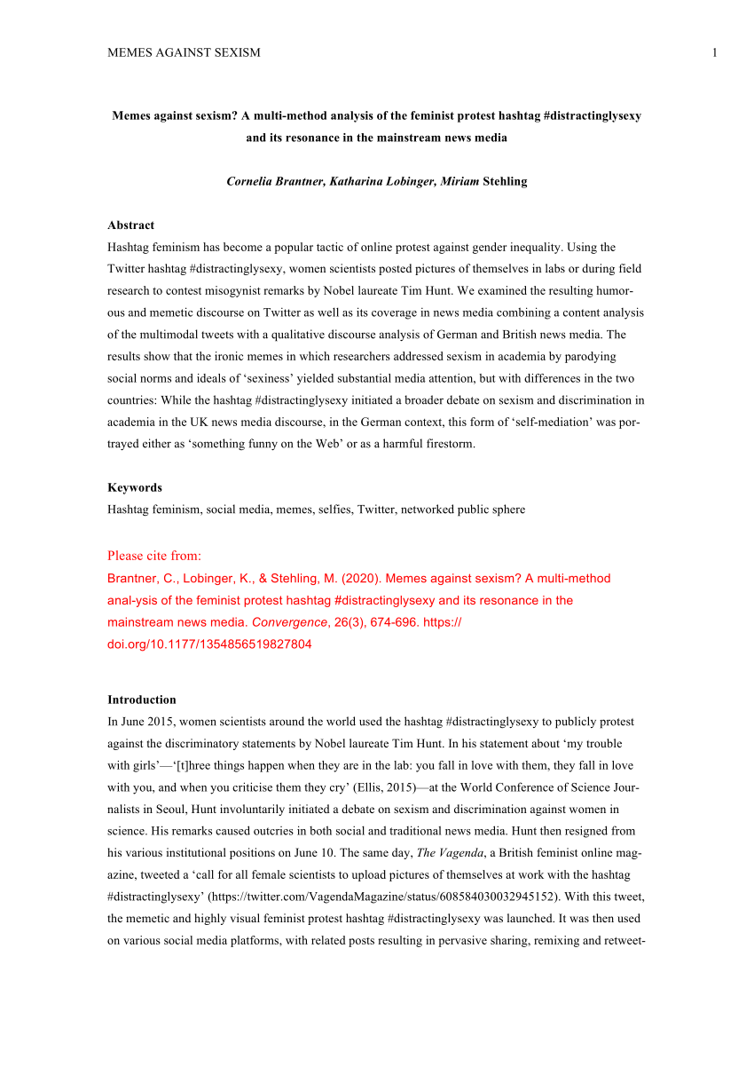 Pdf Memes Against Sexism A Multi Method Analysis Of The Feminist