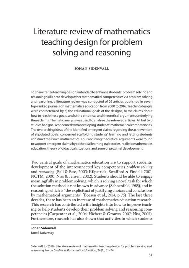 PDF) Literature review of mathematics teaching design for problem