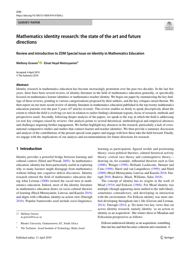 PDF) Mathematics identity research: the state of the art and
