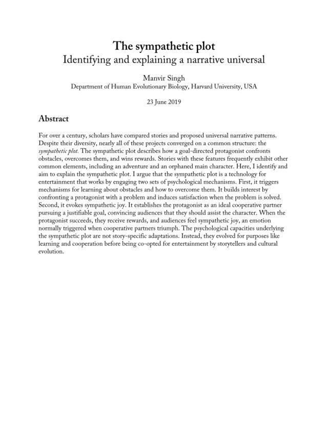 PDF) The sympathetic plot: Identifying and explaining a narrative