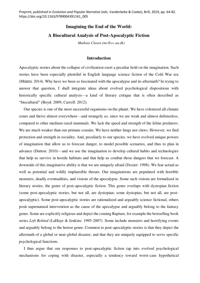 PDF) Imagining the End of the World: A Biocultural Analysis of