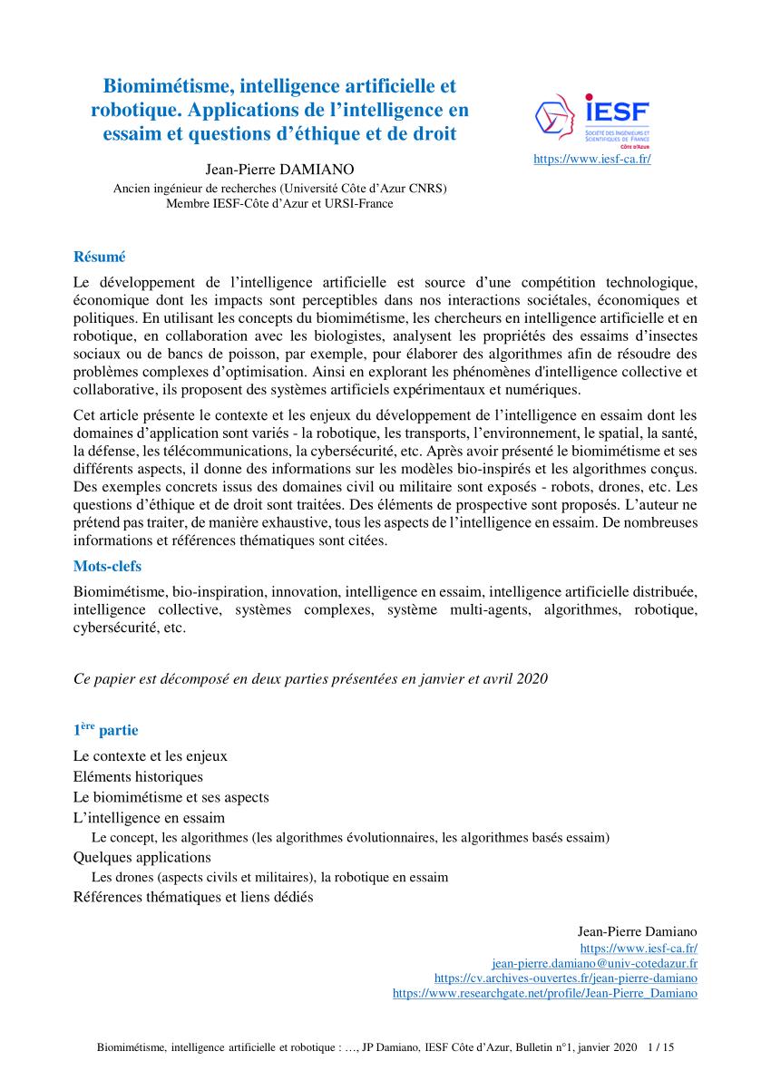 Pdf Biomimetisme Intelligence Artificielle Et Robotique Applications De L Intelligence En Essaim Et Questions D Ethique Et De Droit References Thematiques Et Liens Dedies