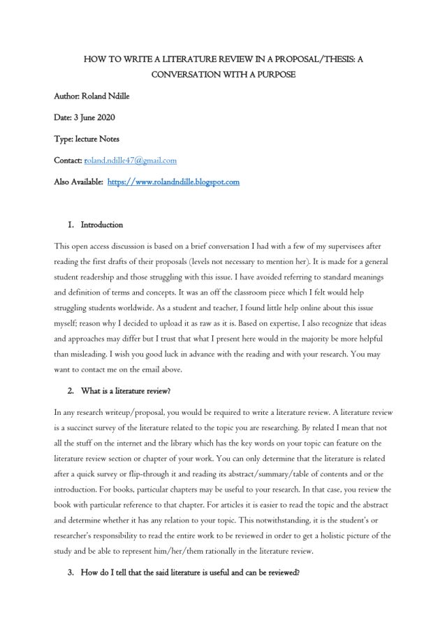 PDF) HOW TO WRITE A LITERATURE REVIEW IN A PROPOSAL/THESIS: A