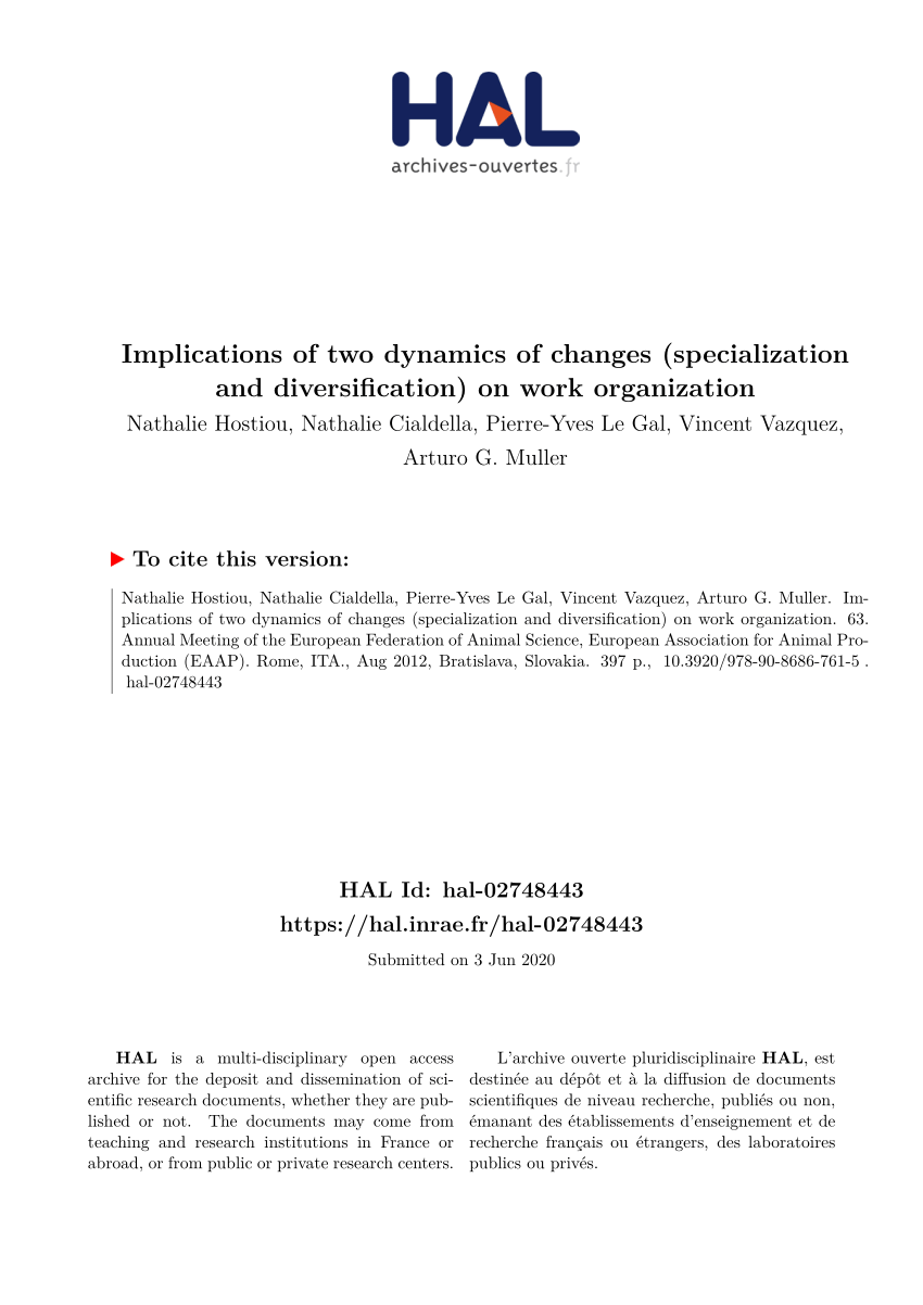 Pdf Implications Of Two Dynamics Of Changes Specialization And Diversification On Work Organization