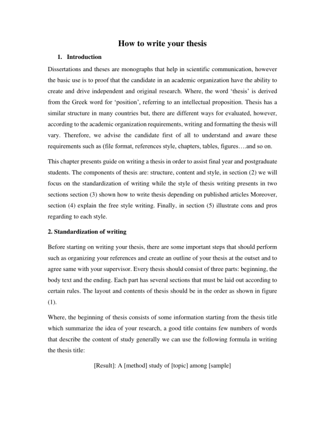 PDF) HOW TO WRITE YOUR THESIS