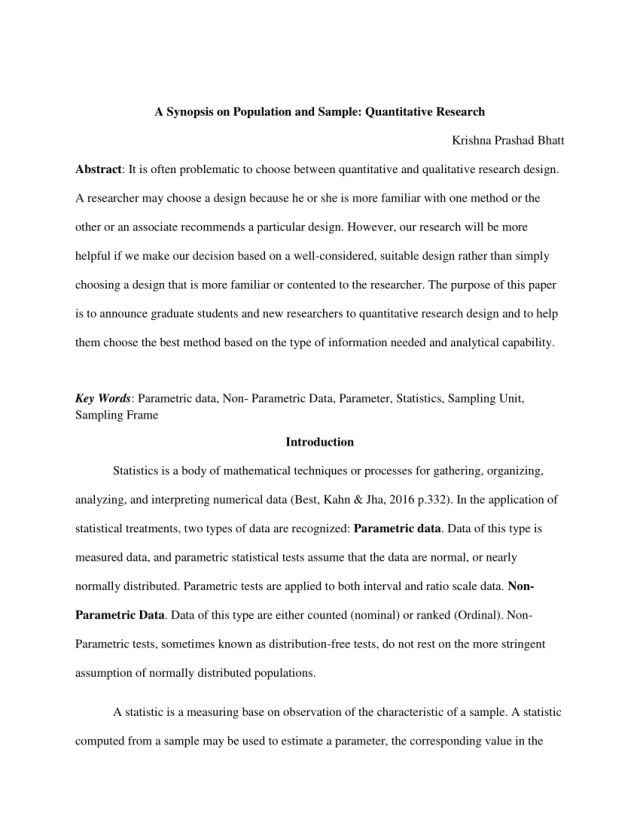 PDF) A Synopsis on Population and Sample: Quantitative Research