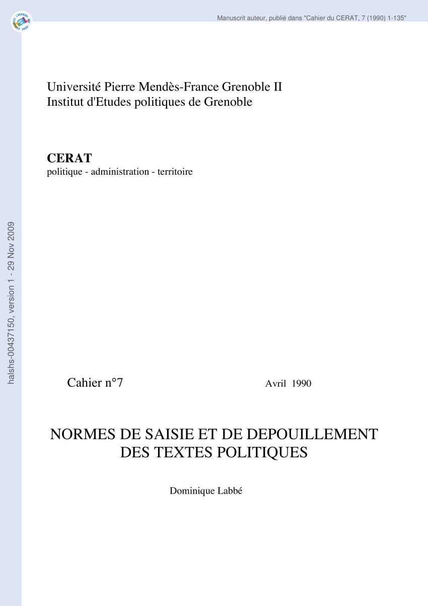 PDF Normes De Saisie Et De Dpouillement Des Textes