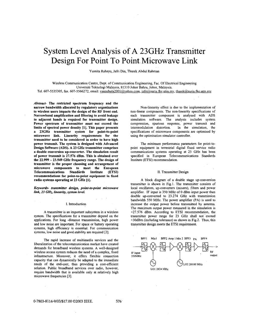 23 ghz transmitter design for point