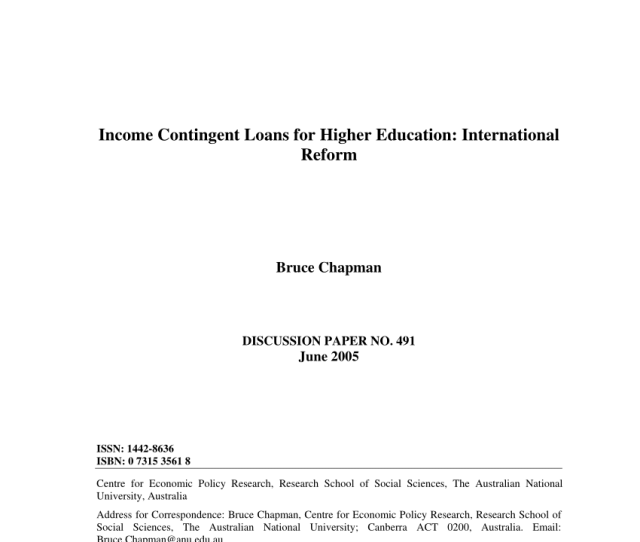 Pdf Income Contingent Loans For Higher Education International Reforms