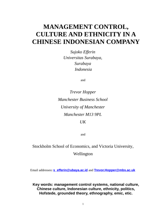 Pdf Management Control Culture And Ethnicity In A Chinese Indonesian Company