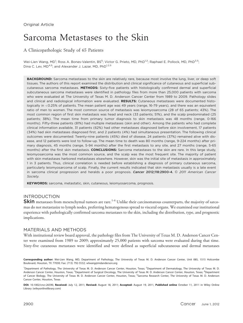 PDF Sarcoma Metastases To The Skin