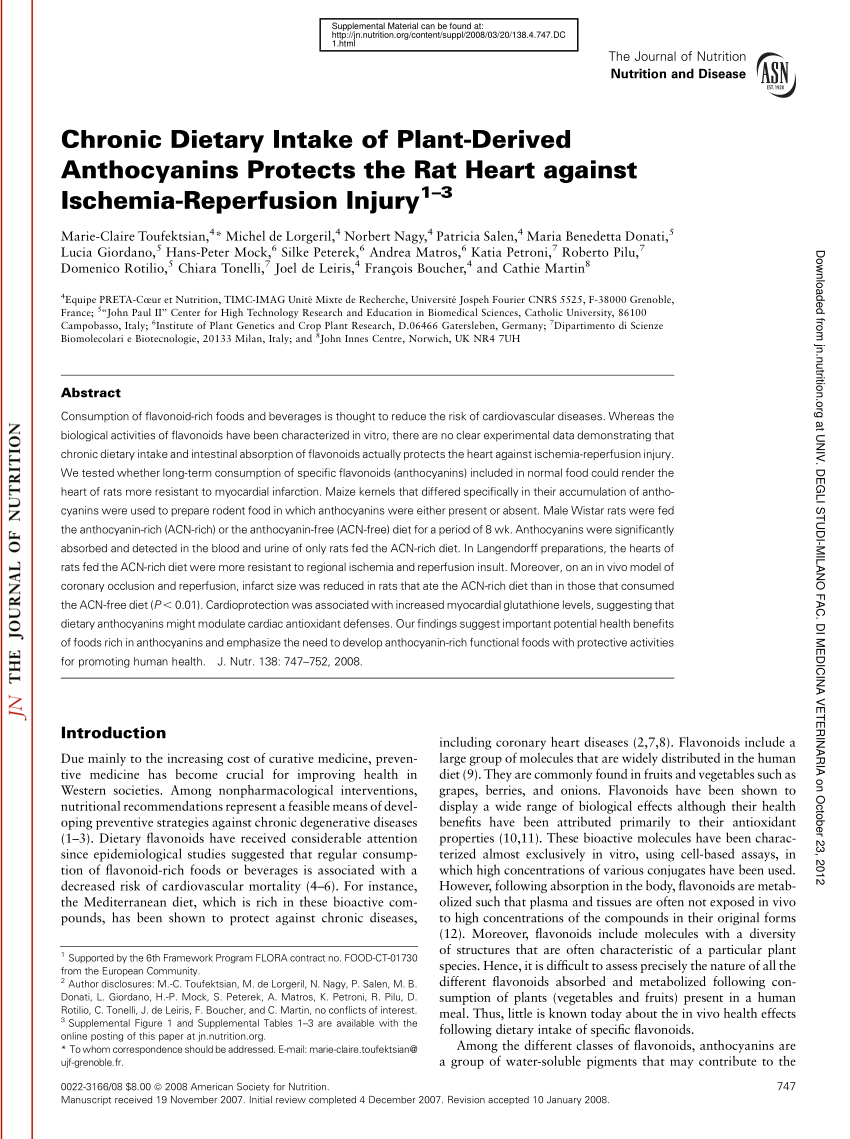 pdf chronic dietary intake of plant derived anthocyanins protects the rat heart against ischemia reperfusion injury