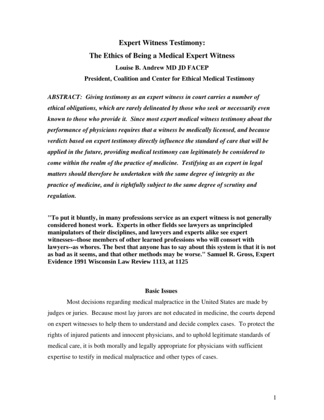 PDF) Expert Witness Testimony: The Ethics of Being a Medical