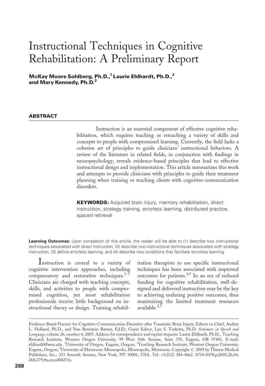 Instructional Techniques In Cognitive Rehabilitation