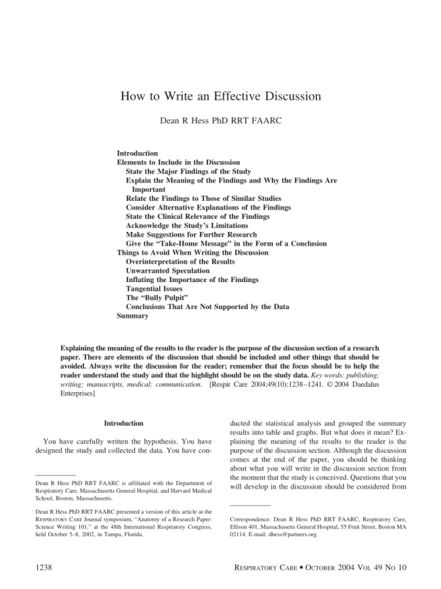 PDF) How to write an effective discussion