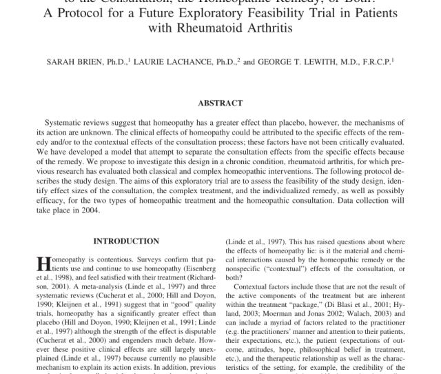 To The Consultation The Homeopathic Remedy Or Both A Protocol For A Future Exploratory Feasibility Trial In Patients With Rheumatoid Arthritis