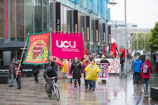 A picture showing the May Day 2015 anti-austerity march in Cardiff's Mill Lane. Those pictured were not involved in the trial