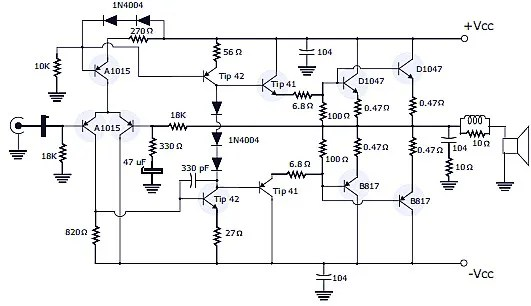400W RMS Stereo Power Amplifier Schematic & PCB Design