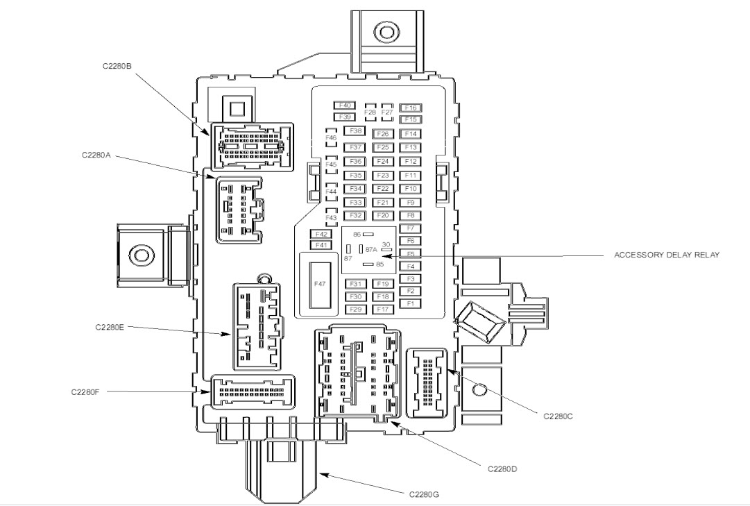 2011 Ford Mustang Fuse Box Diagram Under Hood & Under Dash