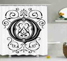 Letter O Shower Curtain Oriental Styled Capital O With Rococo Figures Design Middle Age Inspired Fabric Bathroom Set With Hooks 69w X 75l Inches