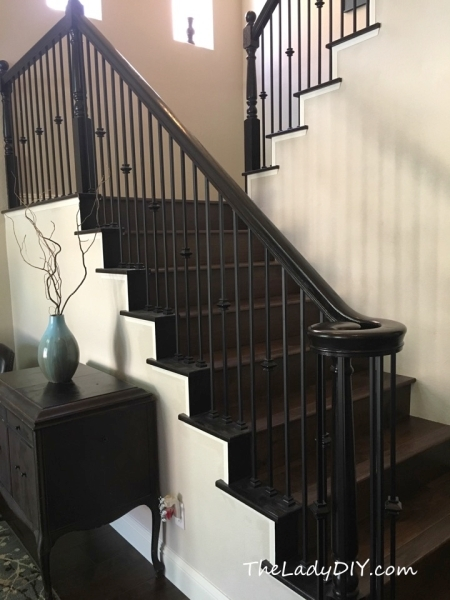 How To Install Wrought Iron Spindles The Lady Diy | Wrought Iron Staircase Spindles | Basement Stair | Rot Iron | Outdoor | Wooden French Country Newel Post | Foyer