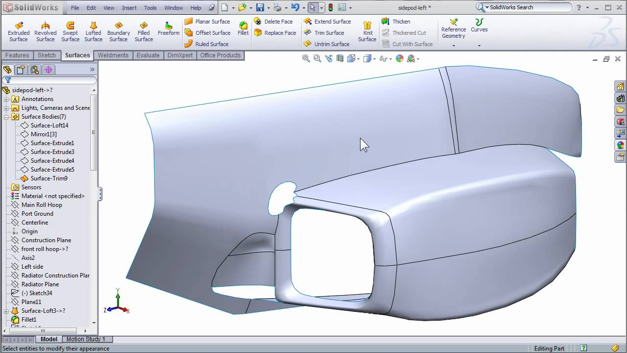 SolidWorks Surfacing to Create FSAE Body Work - Part 2 ...