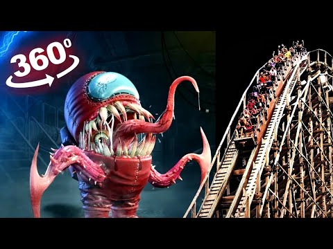 AMONG US 360 Video - Alien IMPOSTOR Transformation? Roller Coaster Ride - The Thing