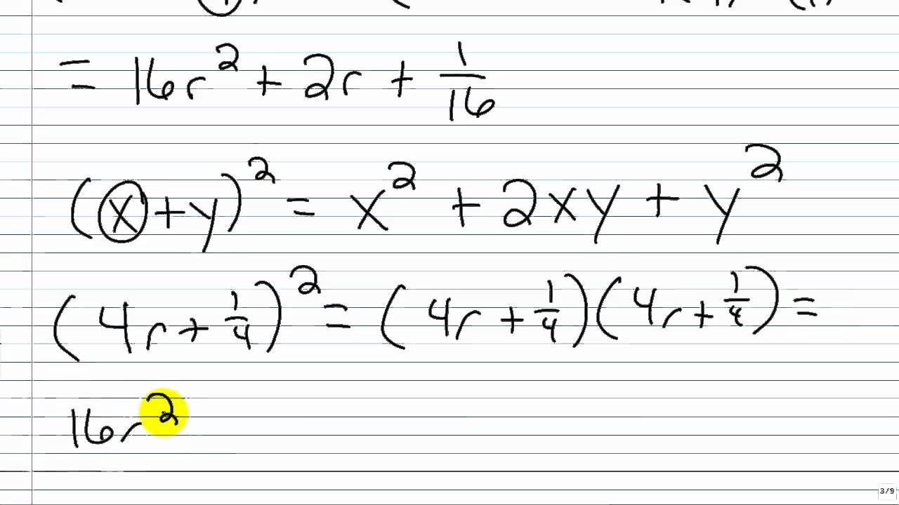 Algebra I Help Special Products Square Of A Binomial