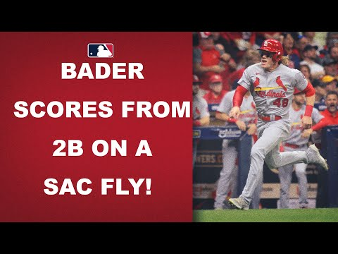 Harrison Bader SPRINTS home from second base on a sac fly!