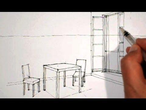 Dessiner En Perspective Intrieure Table Chaises Fentre