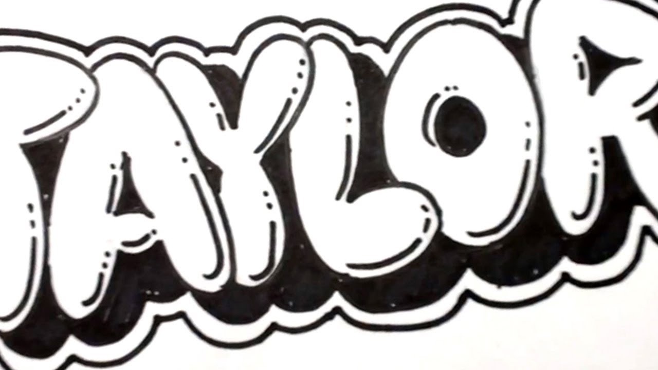 how to draw bubble letters taylor in graffiti name art youtube