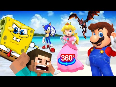 COFFIN DANCE Meme with Roblox Sonic Minecraft Mario (Astronomia Song Music) 360 VIDEO | Part 2