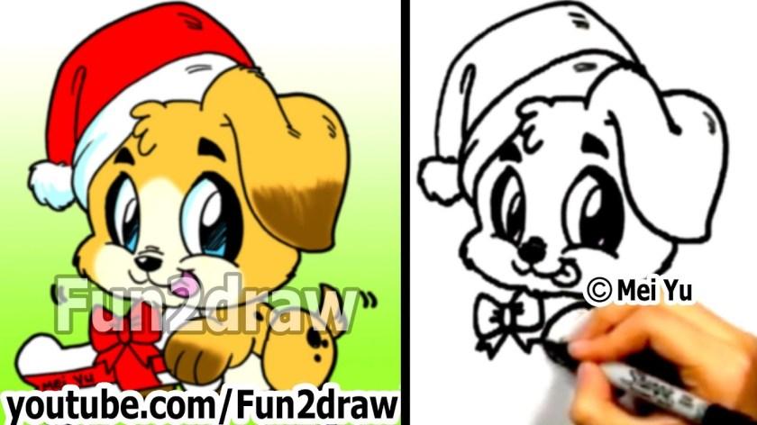 how to draw cute santa puppy stepstep  draw animals