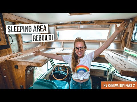 Vintage RV Renovation PART 2! - Completely Rebuilding Overhead Cab Sleeping Area 😴