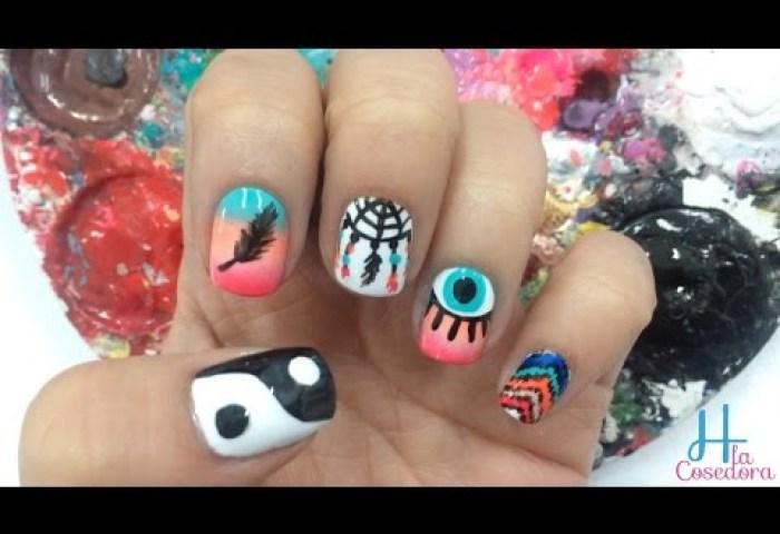 Diy Uñas Decoradas De Atrapasueños Decorated Nails Dream Catcher