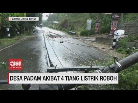 Hujan Deras Sebabkan 4 Tiang Listrik Roboh, Satu Desa Padam
