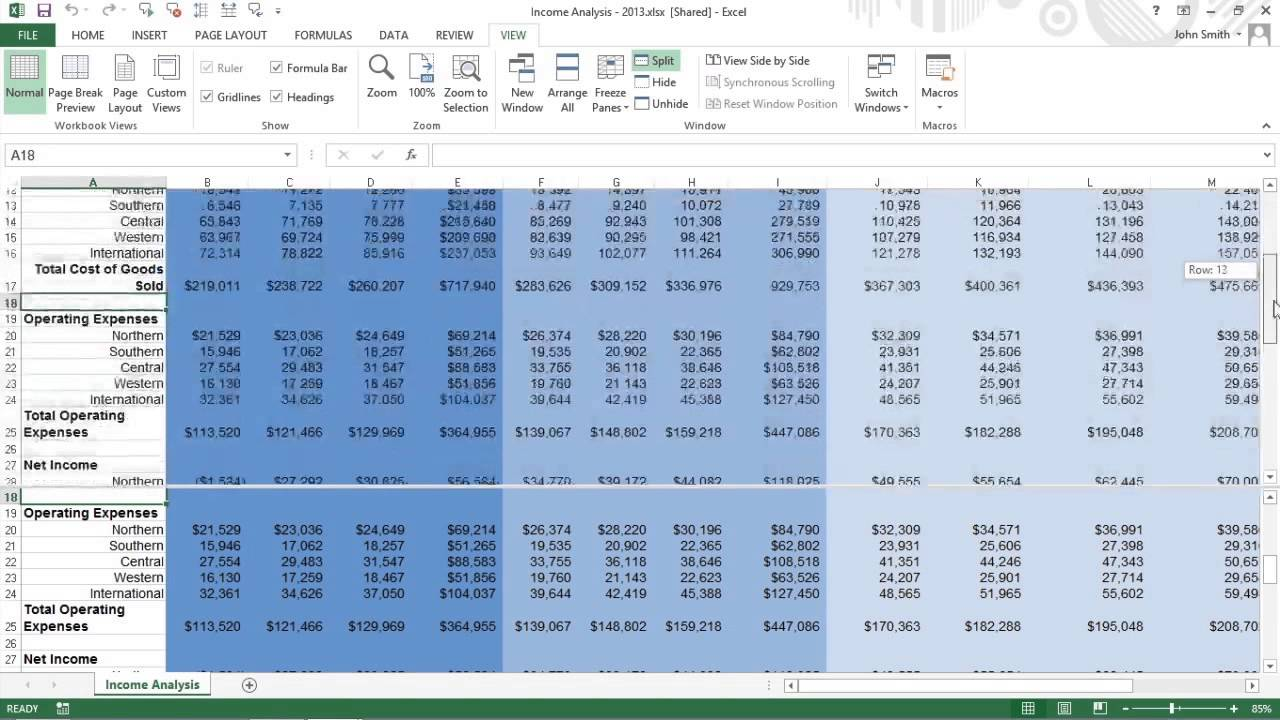 How To Split The Excel Worksheet Into Windows For