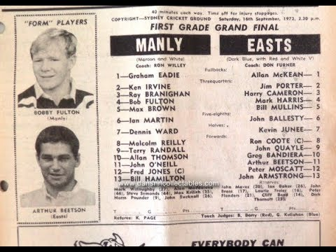 1972 NSWRL grand final: MANLY v EASTERN SUBURBS at Sydney Cricket Ground (highlights)