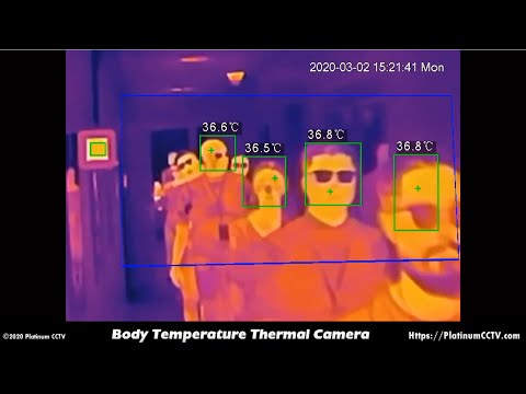 Our PT-BF5421-T Fever Camera in operation scanning people as quickly as they can walk past the camera for high body temperatures