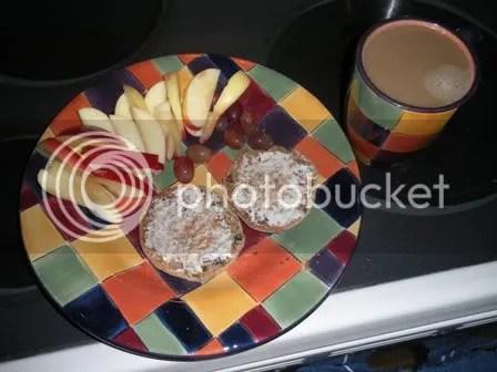 gala apple, red grapes, cinn raisin english muffin w/ cream cheese