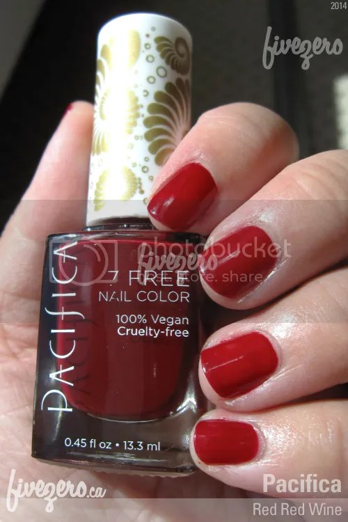 Pacifica 7 Free Nail Color in Red Red Wine, swatch