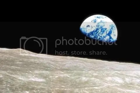 view of earth from barren moon