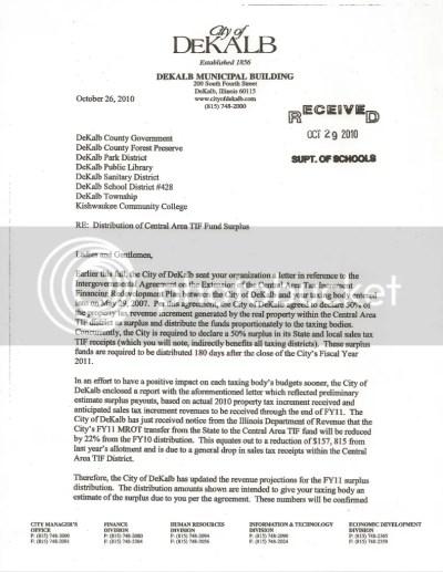 TIF Surplus Letter p. 1