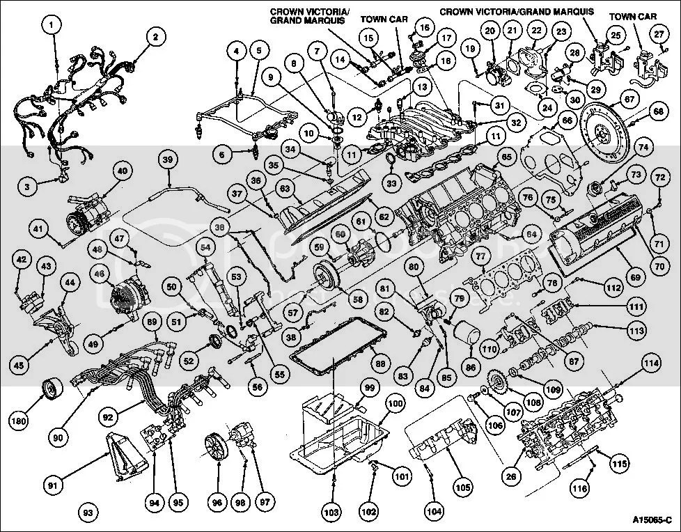 Parts Exploded View 46l Engine Ford